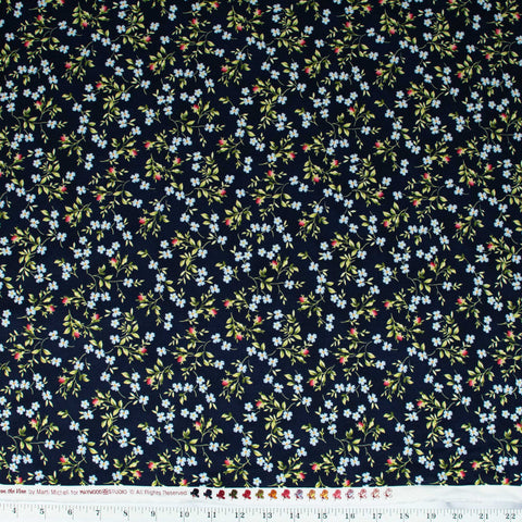 maywood-studios-roses-on-the-vine-by-marti-mitchell-scattered-blue-flowers-navy-blue-MAS8435-N