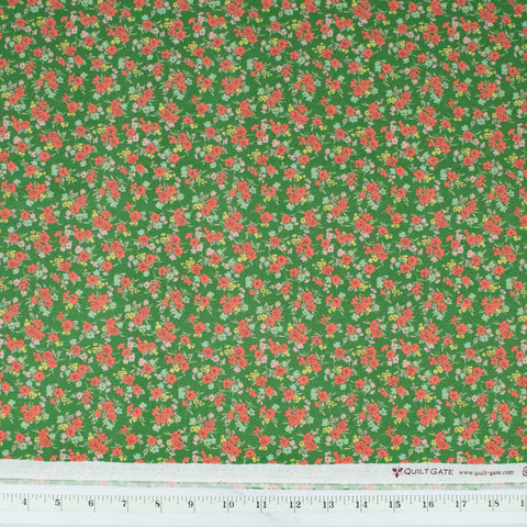 Ruru Bouquet - Florette Small Floral Red and Pink on Green
