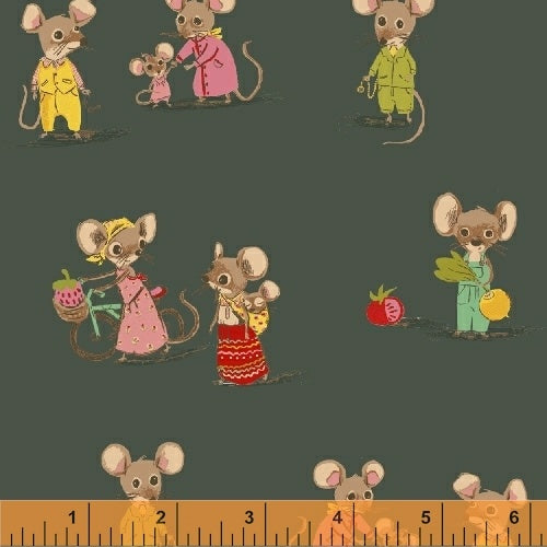 Trixie by Heather Ross - Country Mouse on Dark Green