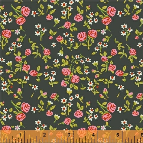 Trixie by Heather Ross - Mousies Floral on Dark Green