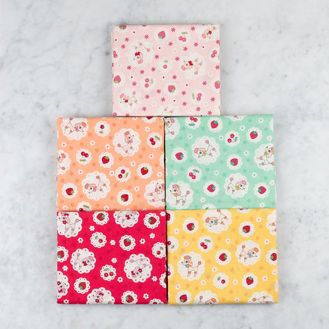Yuwa Strawberries and Poodles Fabric Bundle