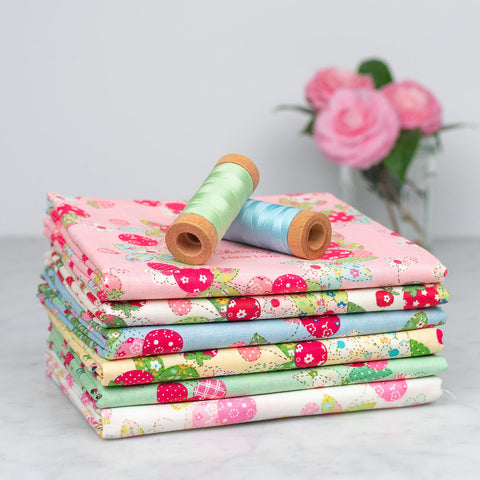 Yuwa Strawberry and Cherry Wreaths Fabric Bundle