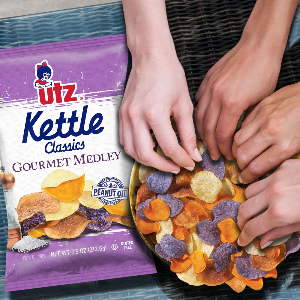 Utz Kettle Classics Potato Chips, Gourmet Medley Kettle Chips Utz