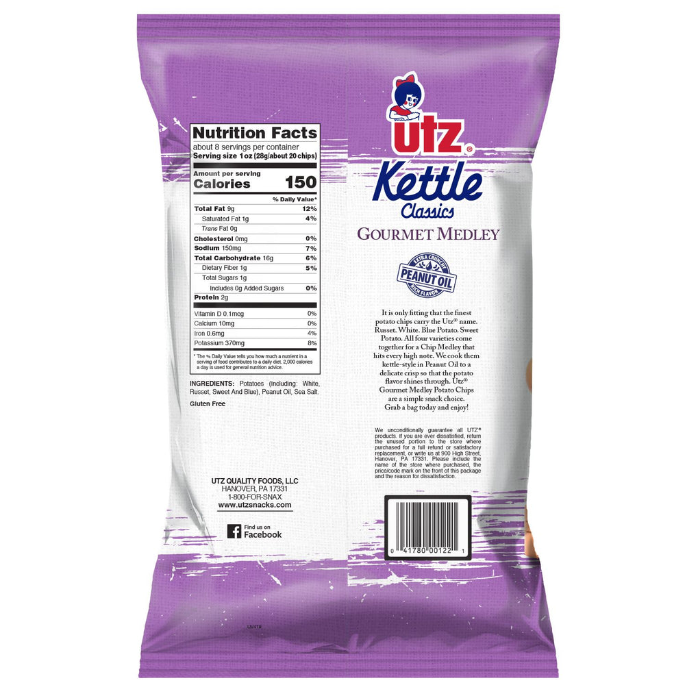 Back of Bag, Nutrition Facts: 1 oz serving size (28g/about 20 chips) about 8 serving per container. Calories 150.