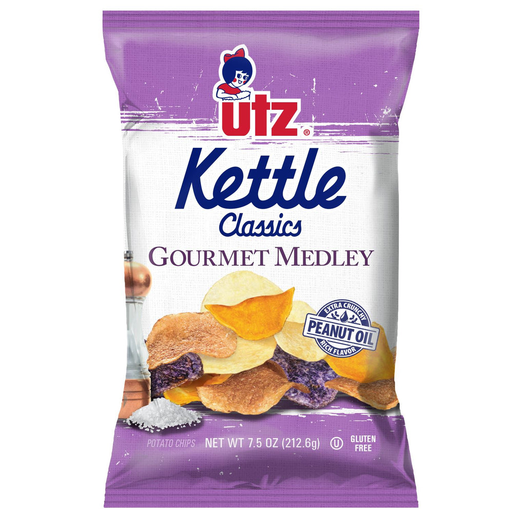 Utz Kettle Classics Potato Chips, Gourmet Medley Kettle Chips Utz 7.5 oz. - 11 count