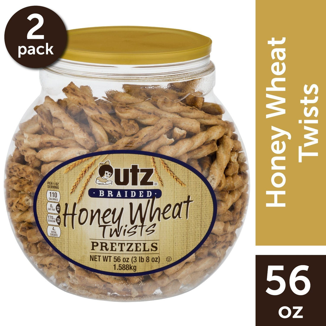 Utz Pretzels, Honey Wheat Braided Twists 56 oz. Barrel (2 Pack)