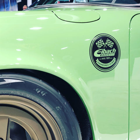 eibach suspension logo sticker on green porsche