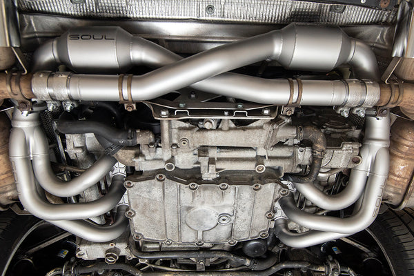 Soul performance headers and catalytic converters on Porsche 996