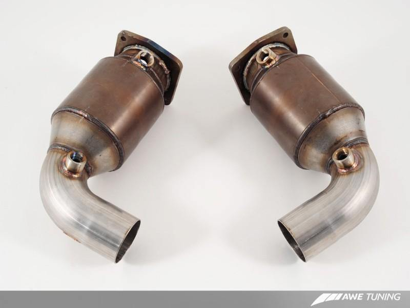 AWE Tuning Porsche 997.2TT Performance High Flow Cat Sections for OE Muffler - MGC Suspensions