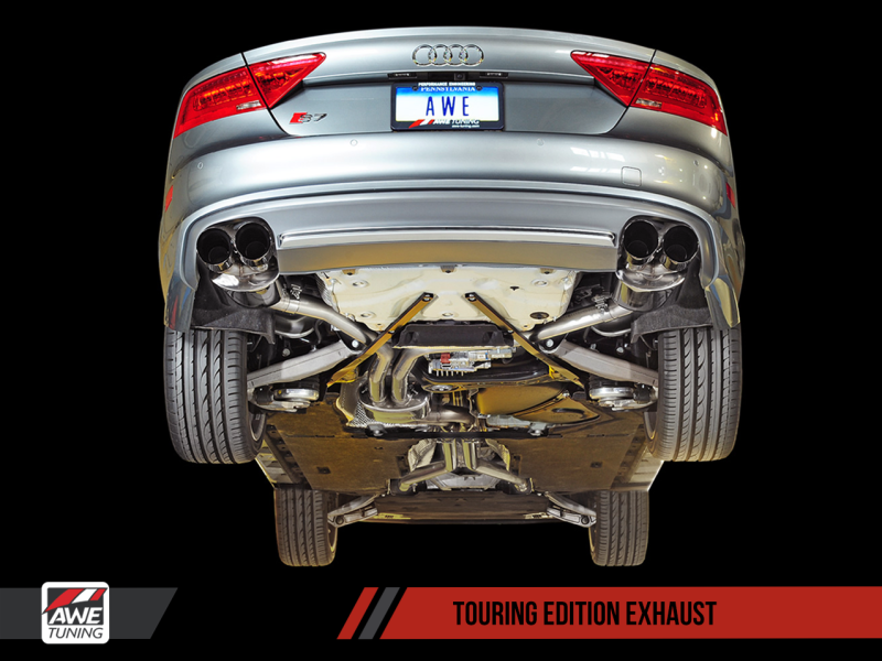 AWE Tuning Audi C7 / C7.5 S7 4.0T Touring Edition Exhaust - Polished Silver Tips - MGC Suspensions