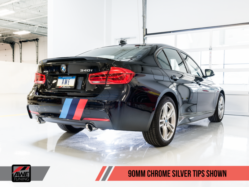 AWE Tuning BMW F3X 340i Touring Edition Axle-Back Exhaust - Chrome Silver Tips (90mm) - MGC Suspensions