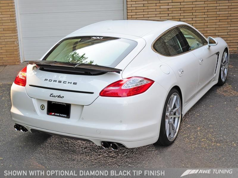 AWE Tuning Panamera Turbo Performance Exhaust System Track Edition Diamond Black Tips - MGC Suspensions