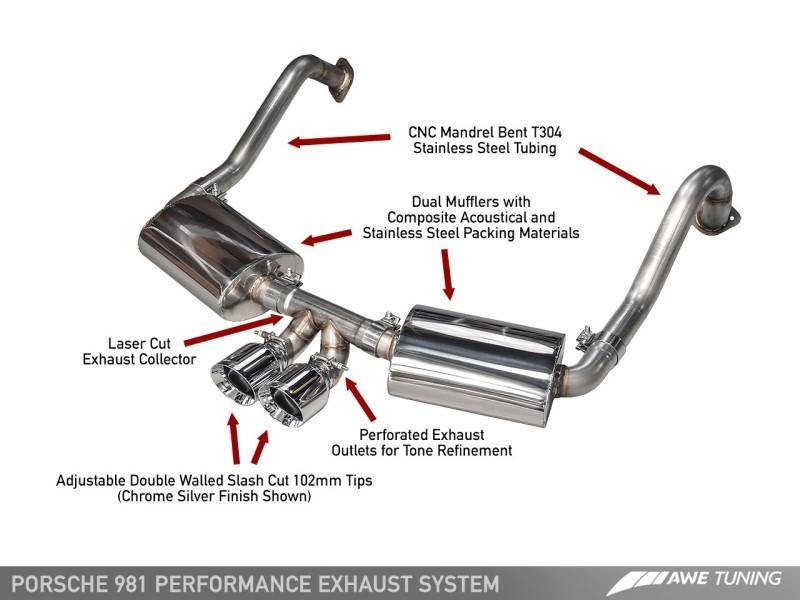 AWE Tuning Porsche 981 Performance Exhaust System - w/Chrome Silver Tips - MGC Suspensions