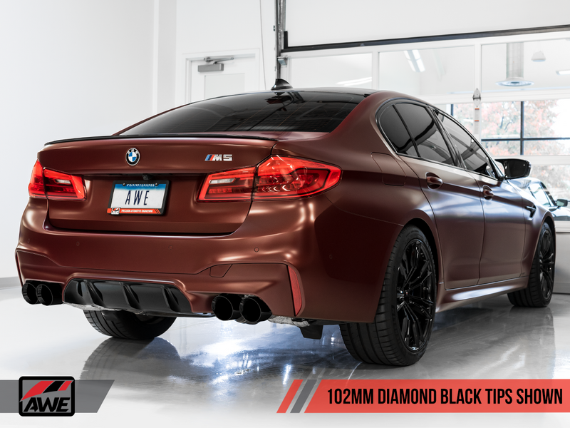 AWE Tuning 2018-19 BMW M5 (F90) 4.4T AWD SwitchPath Axle-Back Exhaust System with Diamond Black Tips.-MGC Suspensions
