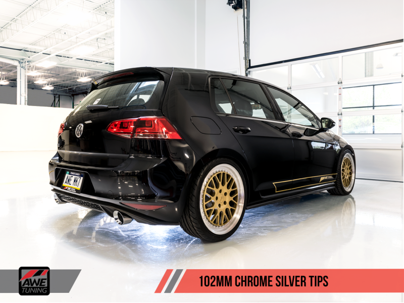 AWE Tuning VW MK7 GTI Touring Edition Exhaust - Chrome Silver Tips - MGC Suspensions