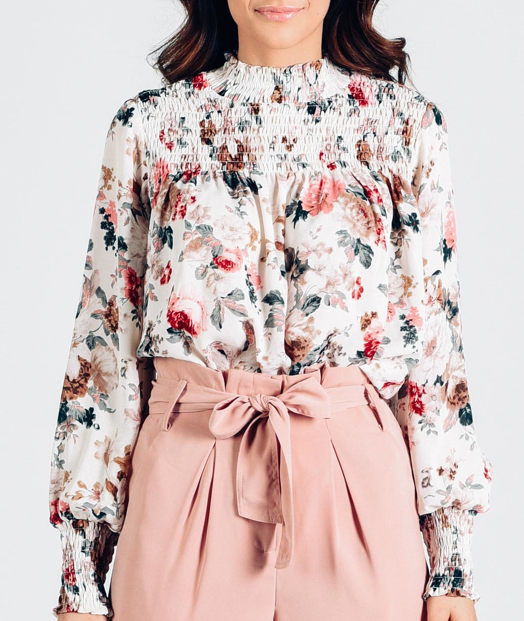 Floral High Neck Long Sleeve Blouse