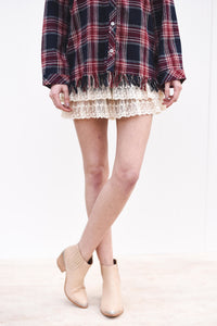 Fringed Plaid Flannel Top