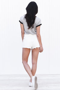 White Ragged Edge Denim Shorts