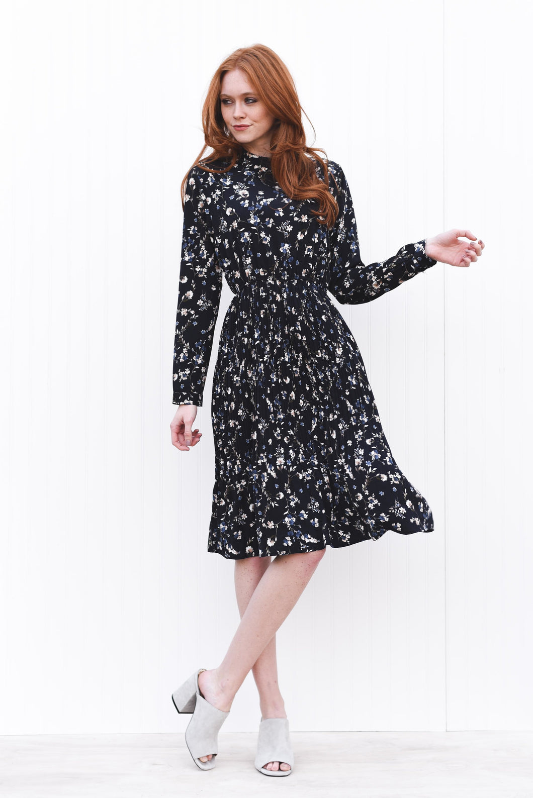 Floral Woven Long Sleeve Dress