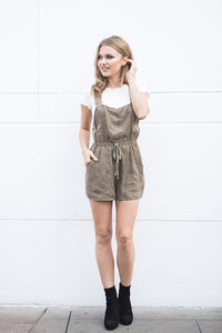 ROMPER WITH WAIST TIE – OLIVE