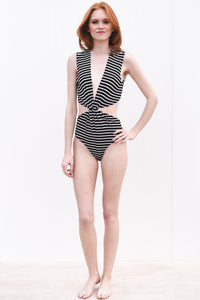 Stripe Bodysuit with Tie Detail
