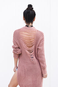 Mauve Distressed Sweater