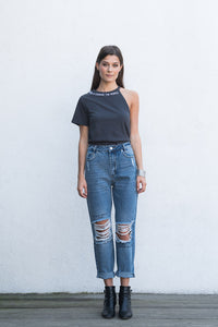 """LET YOUR BEAUTY SHINE"" HIGH WAISTED DENIM JEANS"