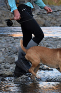 Black Nickers. Women's cooling leggings for fishing. drirelease GEO cool fabric is moisture-wicking, quick-drying, 3000% better thermal conductivity. Small-batch manufactured. Founded, owned, designed and sewn by women.