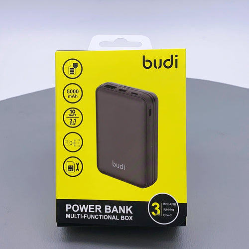 Budi 10W 3 input 5000 mah wireless power bank with multifunction box 515P