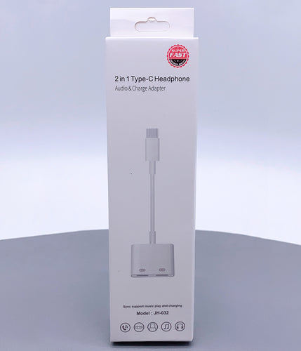 2 in 1 10CM Type-C headphone adapter JH-032