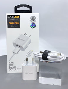 Mobigo GO-302 dual USB fast home charger with lightning cable