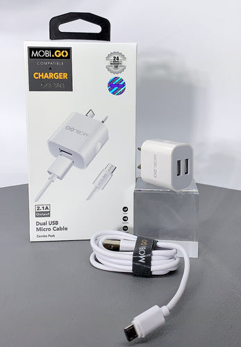 Mobigo GO-303 dual USB fast home charger with micro cable