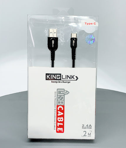 Kinglink KL 2.4A faster 2M type c fabric cable K123