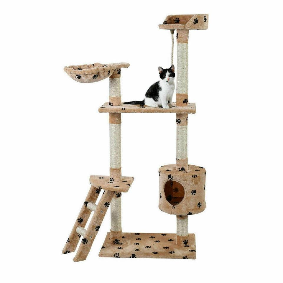 "60"" Cat Tree Tower Condo Scratcher Furniture Kitten Pet House Hammock Beige Paw"