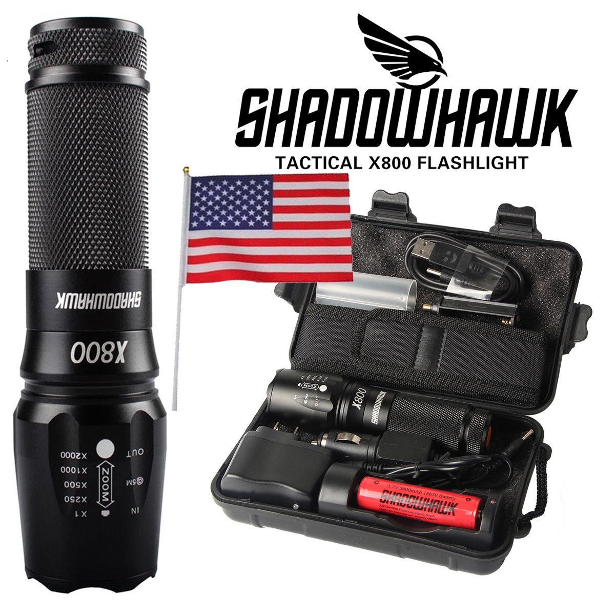 Shadowhawk LED Military Tactical Flashlight - CartUp.com