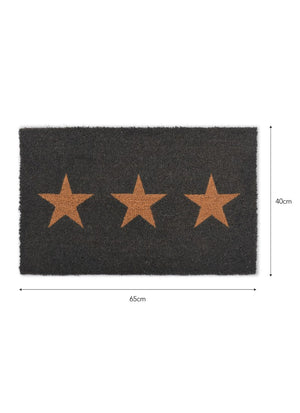 Doormat 3 Stars, Small in Charcoal - Coir