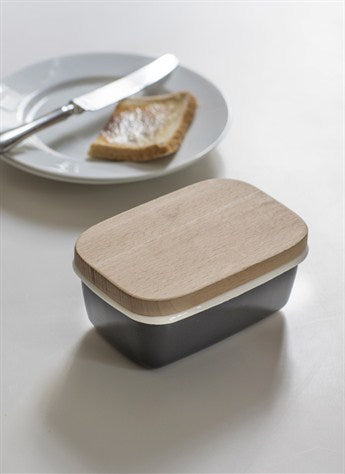 Butter Dish with Wooden Lid in Carbon