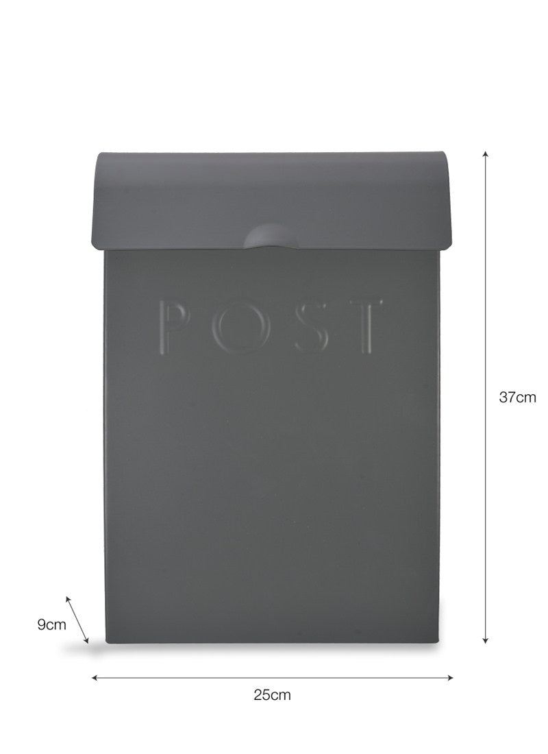 Post Box with Lock in Charcoal - Steel