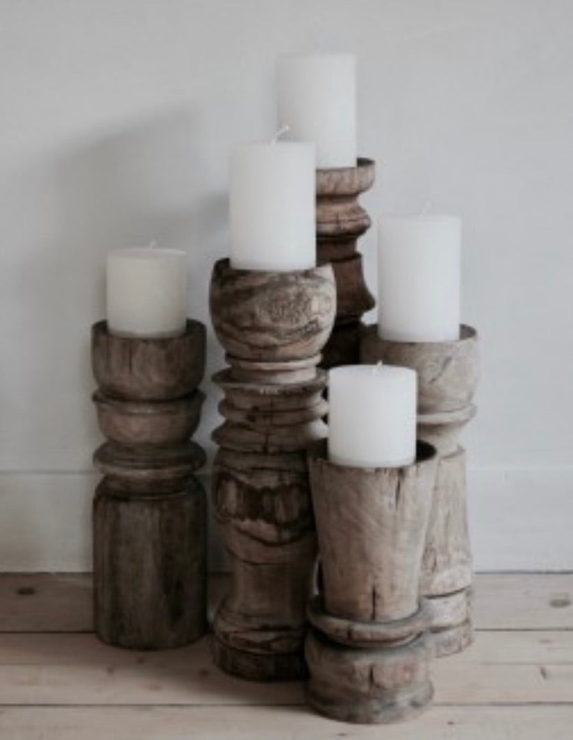 Tall Turned Wood Candle Holder x 1