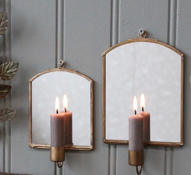 Wall Mirror w Candle Holder - Sml