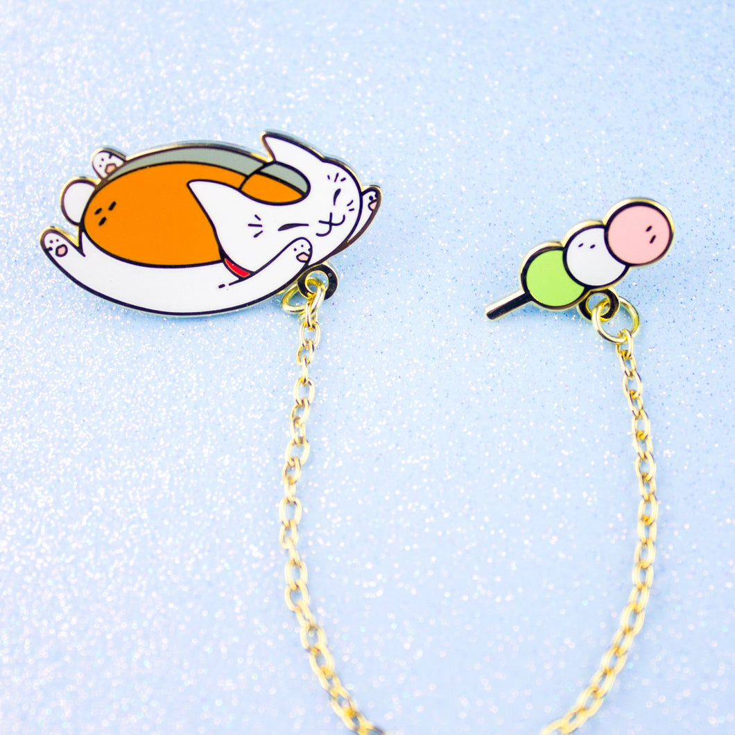 Nyanko + Dango Enamel Pin Collar Set with Chain