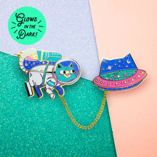 The Adventures of Space Cat Enamel Pin Collar Set with Chain