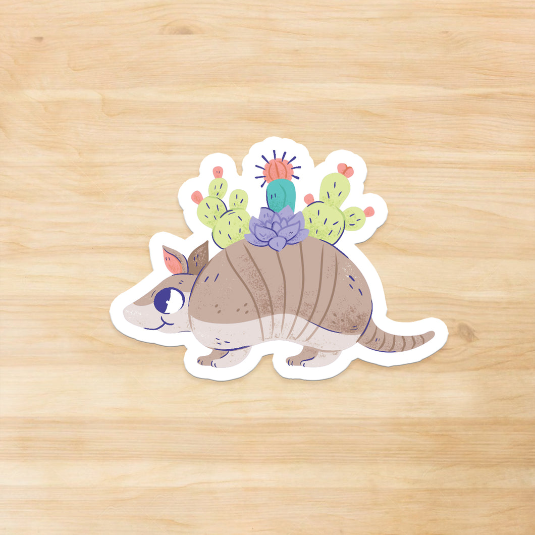 Armadillo Garden Vinyl Sticker