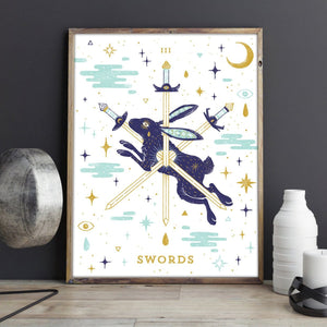 III of Swords Metallic Gold Tarot Screenprint Poster