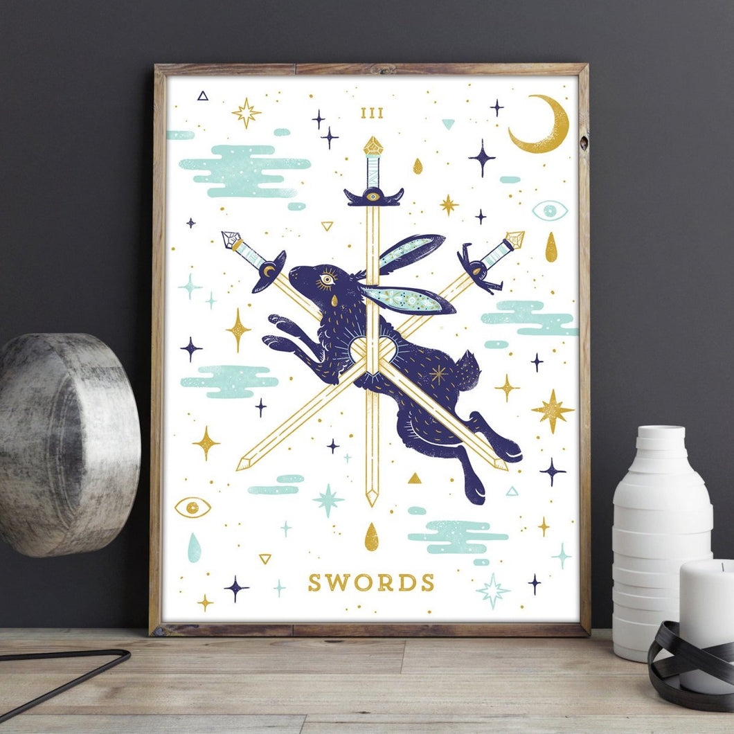 III of Swords Metallic Gold Tarot 18x24 Screenprint Poster