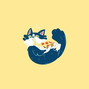 Orion the Cat - Pizza Time 8x8 Giclee Print