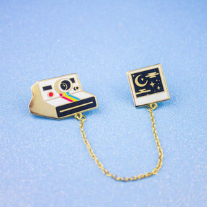 Sweet Dreams Polaroid Enamel Pin Collar Set with Chain