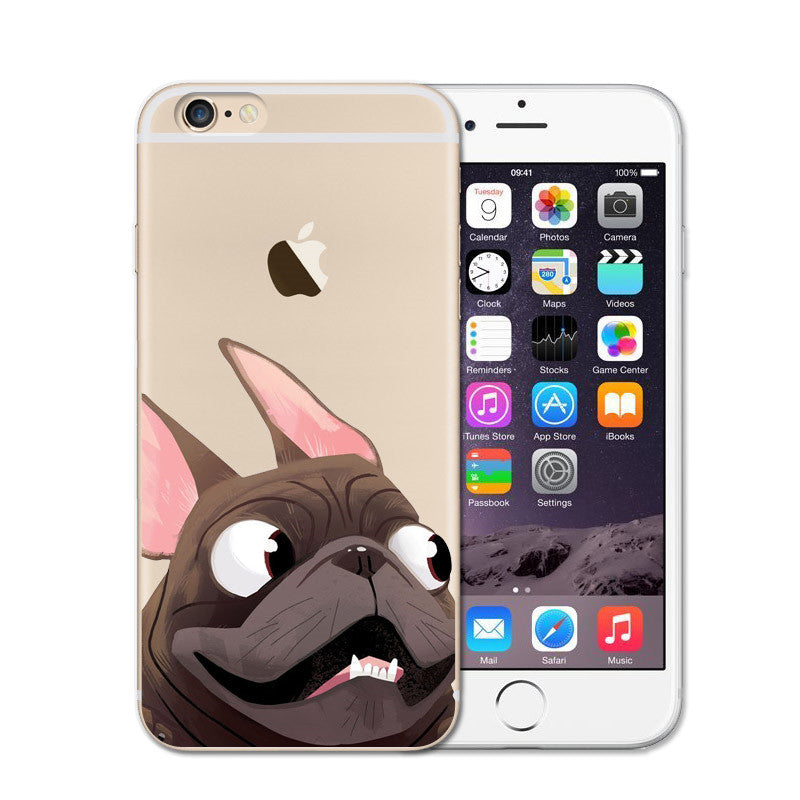 Cute French Bulldog Soft Transparent Case For iPhone SE 5S 6S 7 8 Plus X Crystal Clear Silicon Cover Phone Case