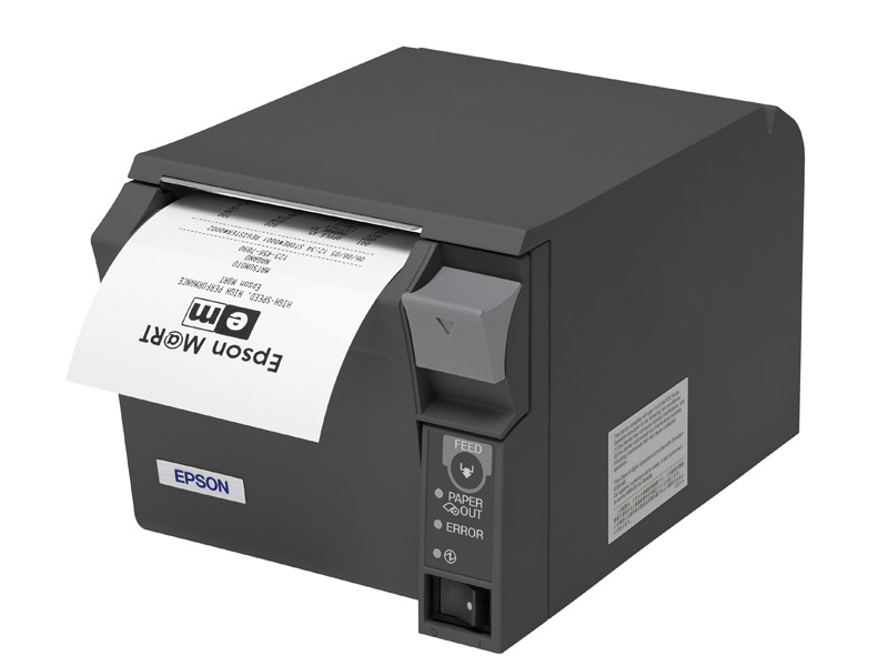 EPSON T70II - C31CD38134 - FRONT LOADING RECEIPT PRINTER, 80MM, THERMAL, SERIAL & USB, DARK GRAY,