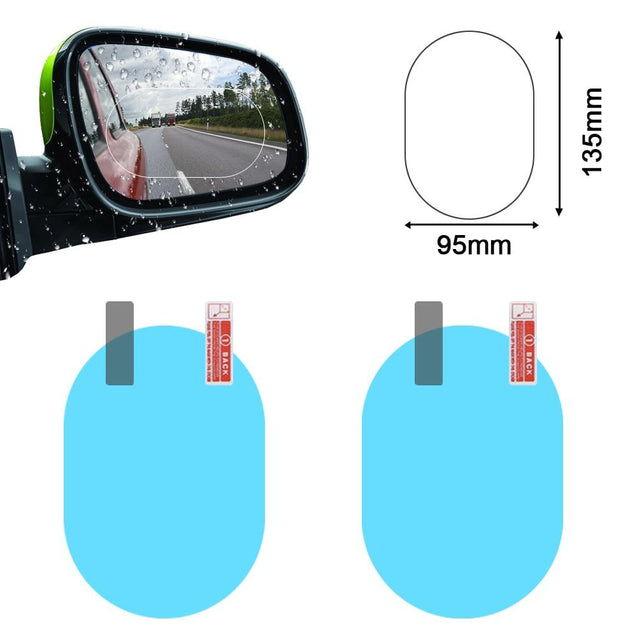2PCS Car Mirror Window Clear Film Anti Dazzle Car Rearview